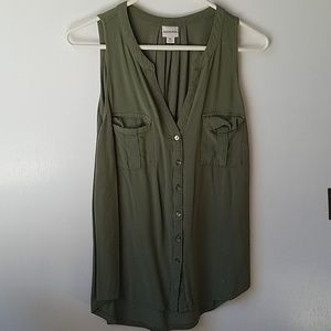 Army Green Button Up Tank